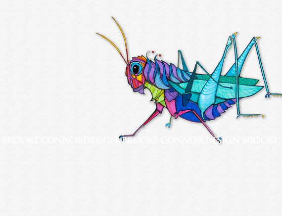 Neat tattoo idea  Grasshopper in Full Color on a Softly Textured Background on Etsy, $20.00