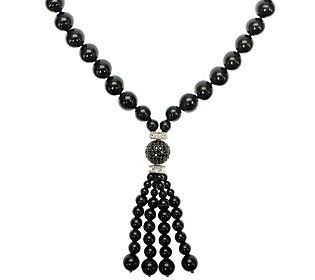 Judith Ripka Sterling Black Onyx & Diamonique Tassel Necklace