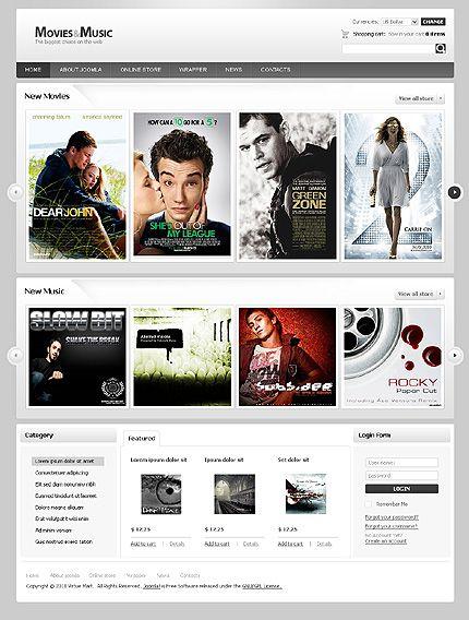 Movies Music VirtueMart Templates by Mercury