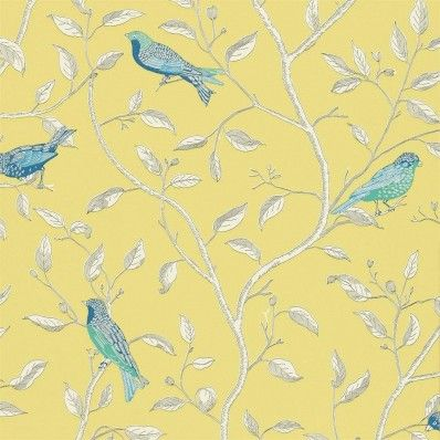 Yellow / Blue / Cream - DOPWFI101 - Finches - Options 10 - Sanderson Wallpaper