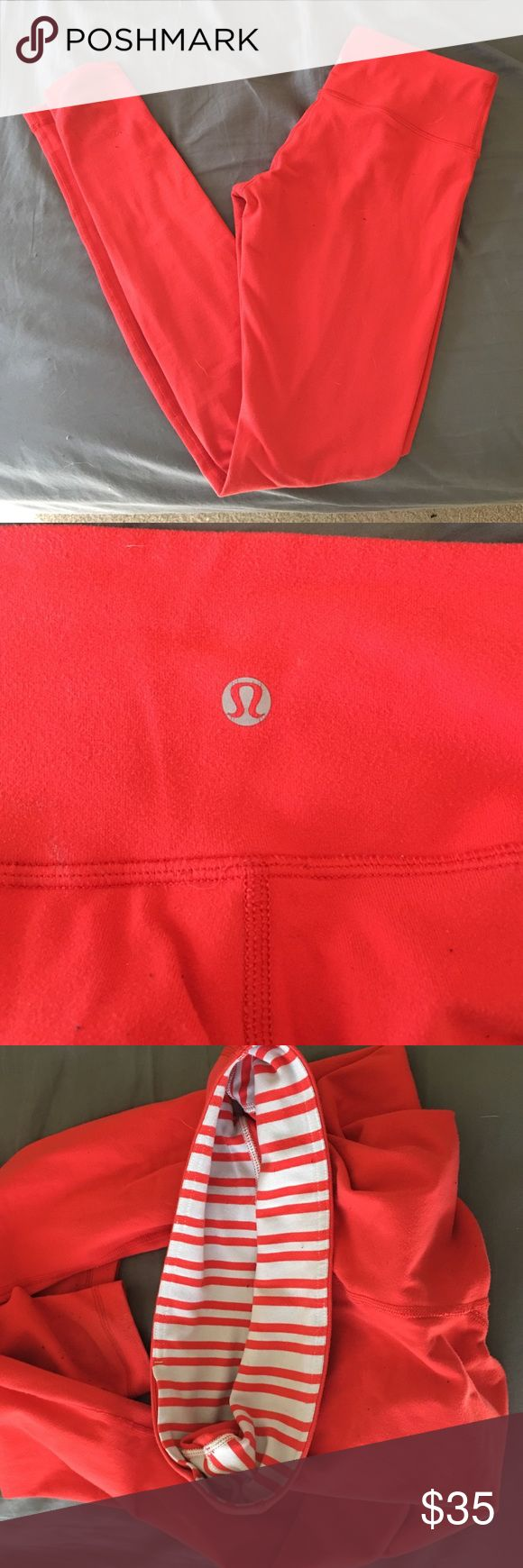 Lululemon wonder under red leggings I believe these are wunder under leggings. Size 6 with a striped band inside the top. Good condition with some pilling on the bottom back where you might put them past your heels. To be it's an orange red color. Please let me know if you have any questions. lululemon athletica Pants Leggings