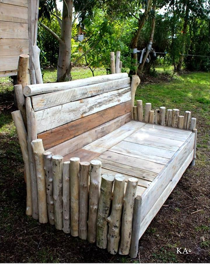 Pallet and Old Wood Log Garden Bench - 50+ DIY Pallet Ideas That Can Improve…