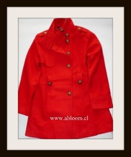 Hermoso Abrigo, Modelo Militar Color rojo Talla M...Compralo te servira para todas las estaciones...encuentralo en www.abloom.cl