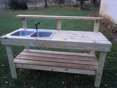 Outdoor Sinks Stations for Water Hose | The best part of this bench is it has water. Well, actually it's a ...