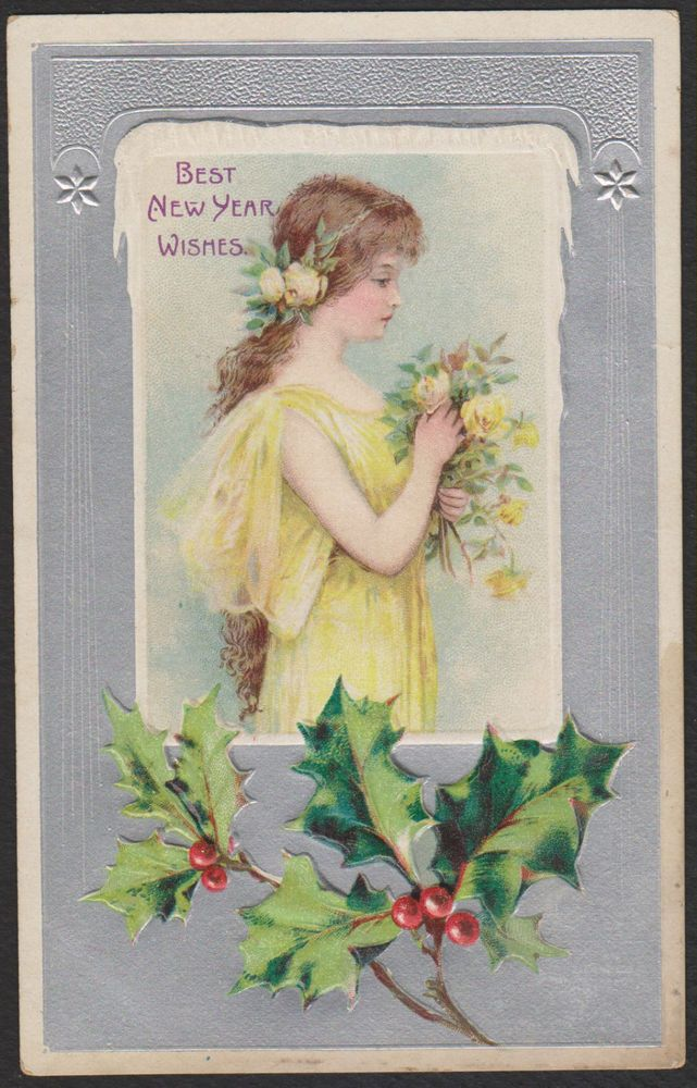 New Year-Young Girl-Yellow Dress-Roses-Profile-Holly-Silver-Antique Postcard #NewYear