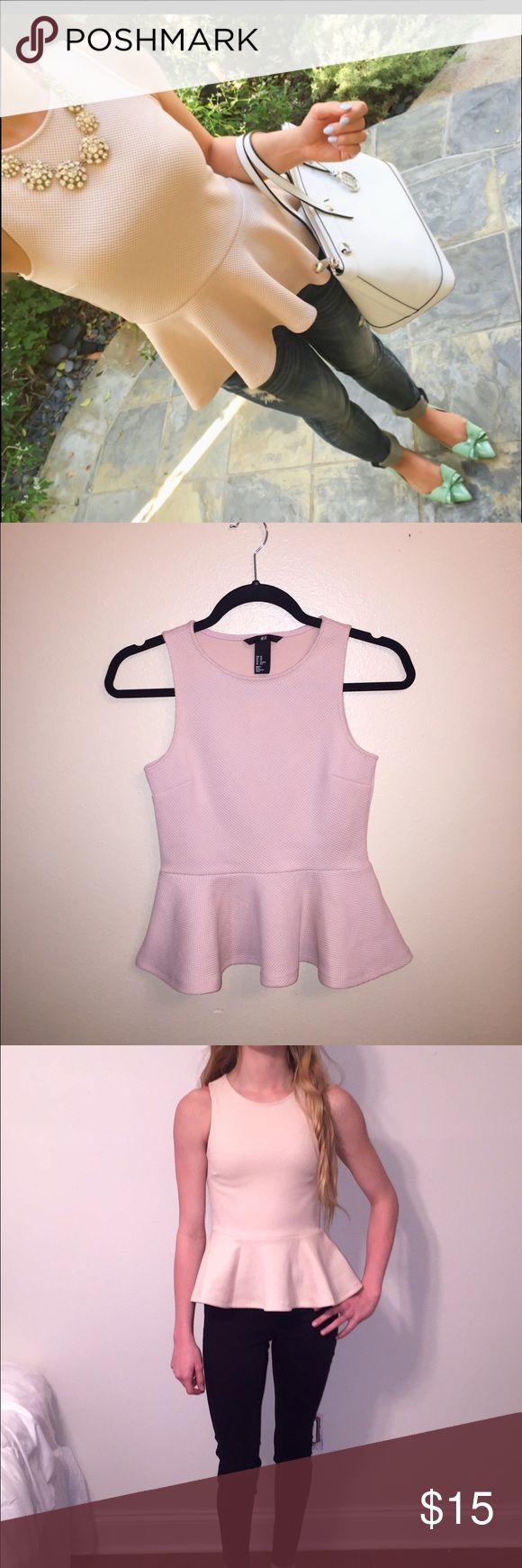 H&m pale pink sleeveless peplum top! XS Precious H&M pale pink sleeveless peplum top! NWT! Never worn! H&M Tops