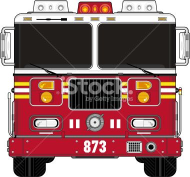 American Style Cartoon Fire Engine Royalty Free Stock Vector Art Illustration