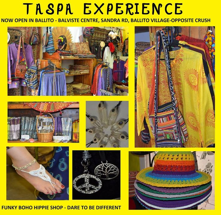 """Taspa Experience your one stop happy hippie shop in Salt Rock Beach on the KZN North Coast. Visit them if you're in a """"hippie"""" mood. Hippie clothing, funky boho clothing, incense, smudging, crystal pendants, festival clothing and so much more...."""