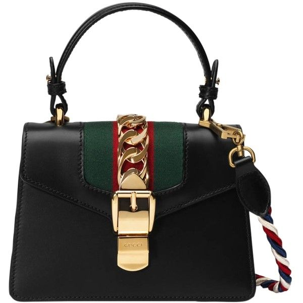 Gucci Sylvie Leather Mini Bag (106,000 DOP) ❤ liked on Polyvore featuring bags, handbags, kirna zabete, kzloves /, le catch's summer essentials, mini purse, top handle handbags, leather handbags, mini shoulder bag and genuine leather handbags