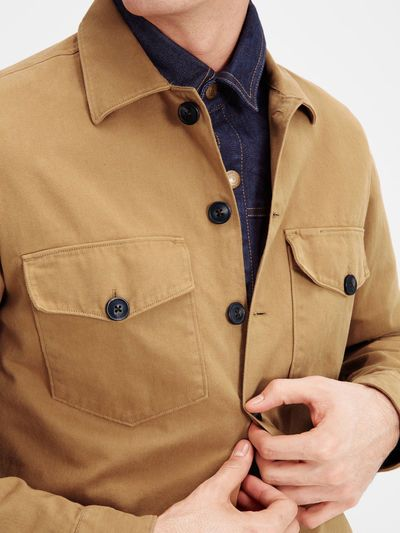 Layering Tip: add a shacket. Overshirt jacket, 100% cotton with chest pockets in camel | JACK & JONES #outfit #men #ideas