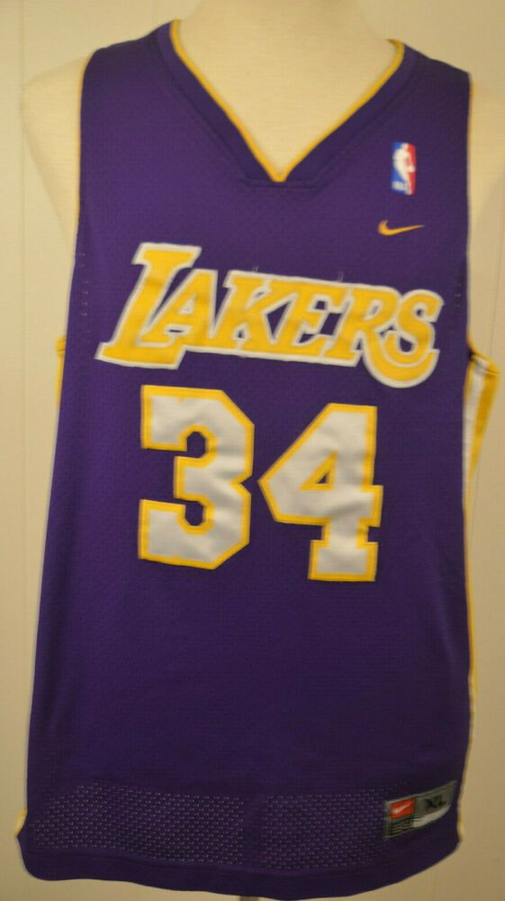 c1d2e23f847 Nike Los Angeles Lakers Jersey 34 Shaquille O Neal NBA Mens XL Purple Sewn   Nike  LosAngelesLakers