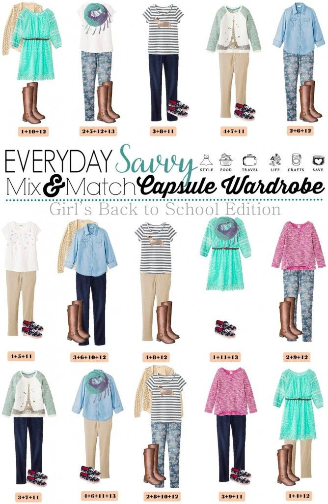 Fun fall back to school capsule wardrobe for girls with items from Target. When you buy these 13 pieces including shoes, you have 15 mix and match back to school outfits.  This is great for kids because it is so easy.  You could even print out the pictures and they could use them when they get dressed each morning.