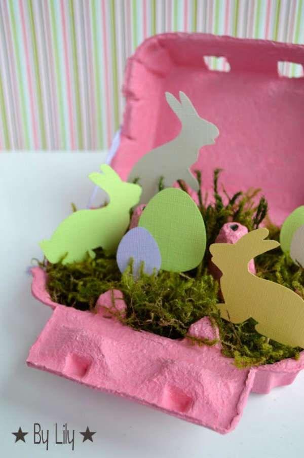 Centre de table avec une boite à œufs et figurines en papier cartonné. 15 Superbes centres de table à faire soi-même pour la décoration de Pâques