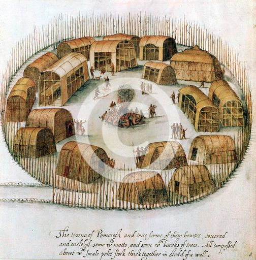 Native American Algonquin Indian village, 1585. Sketch from observations made by the English expedition under John White in 1585 of Pomeiock, Gibbs Creek, North Carolina, showing huts and longhouses inside a protective palisade. From the British Museum.