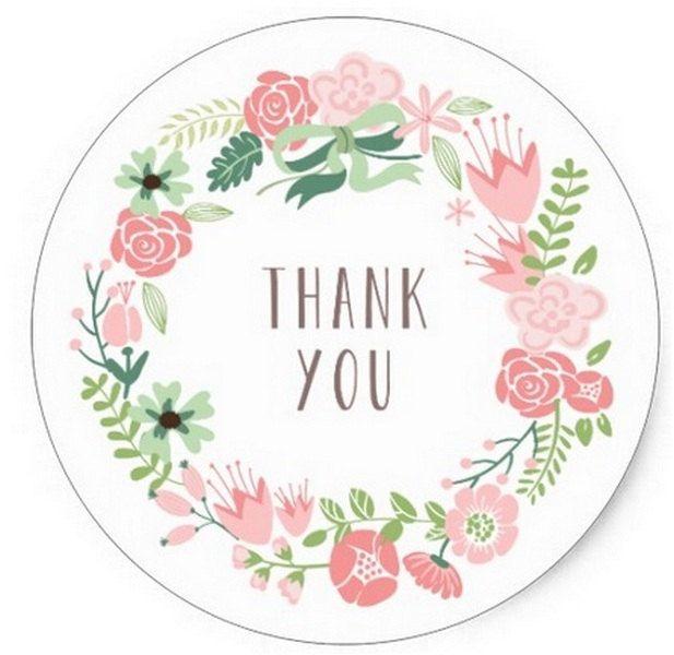 """24 Etichette Adesive - Stickers - Tonde con scritta """"Thank you"""" Con Fiori Rosa/Salmone diametro 38mm Chiudipacco - Matrimonio - Battesimo di CuciCuciCheTiPassa su Etsy"""