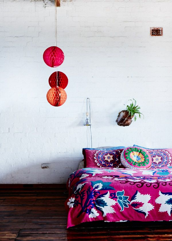 Bedspread – a gift from a friend of Sarah's from Croatia.Photo -Sean Fennessy, production – Lucy Feagins / The Design Files.