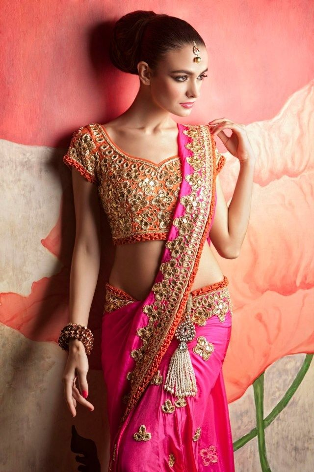 piink_orange_mirror_work_saree_papadontpreach.jpg (640×960)