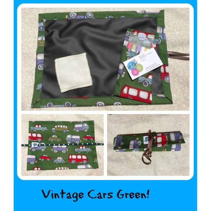 $18.00 Chalk Mat Vintage Cars Green by Beckys on Handmade Australia