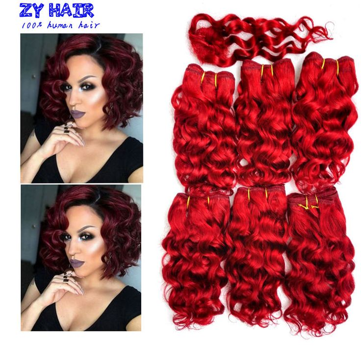 Tissage Bresilienne Avec Closure Short Hair Extension Burgundy Deep Curly Wave With Closure Red Wine 6 Bundles Deep Red Hair