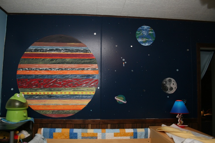 Space Themed Kid 39 S Room Wall Over The Bed Painted Dark Blue Hand Paint Planets Stars Are