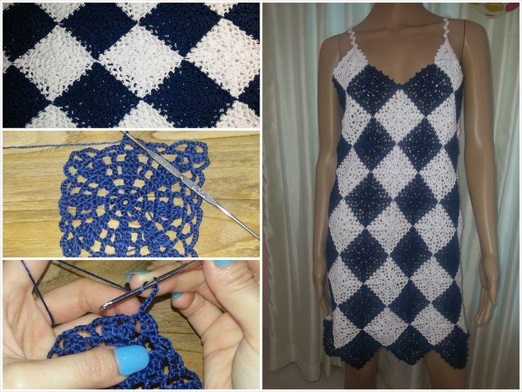 Crochet granny square dress tutorial part 1 of 3 (Granny Square Pattern #2)