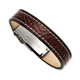 Men's Brown Leather Stainless Steel Bracelet Men's Jewelry Available Exclusively at Gemologica.com