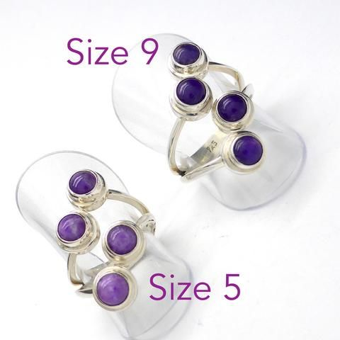 Ring Sugilite 4 Round Cabochons | 925 Silver Silver | Size 5 | Size 9 | Activate & Manifest Spiritual Vision | Crystal Heart Melbourne Australia since 1986