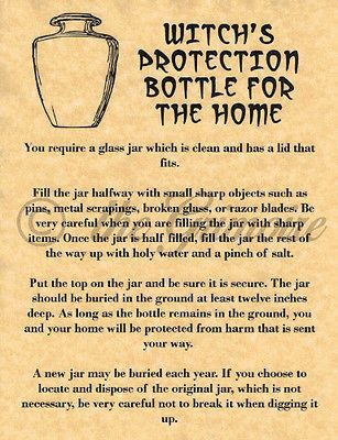 WITCH'S PROTECTION BOTTLE, Book of Shadows Spell Page, Witchcraft, Wicca, Pagan