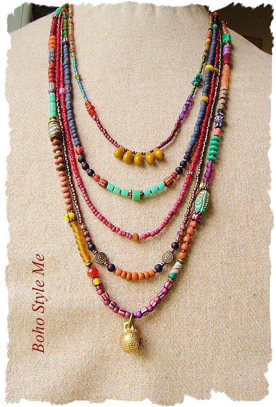 0ee14350e Boho Colorful Beaded Necklace Handmade Bohemian Jewelry