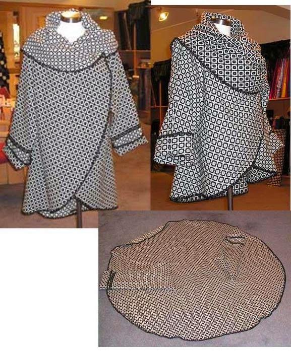 yo elijo coser: Patrón gratis: abrigo color block con un rectángulo de tela o con un círculo