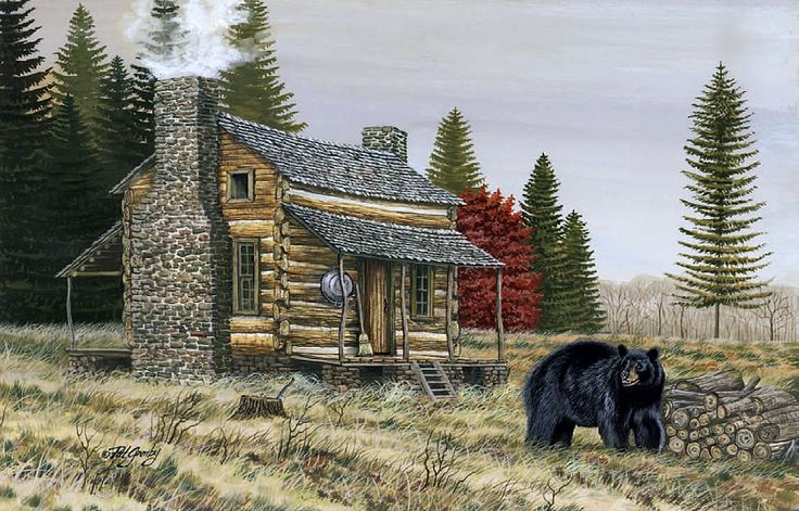 17 best images about artwork on pinterest red barns for Log cabin painting