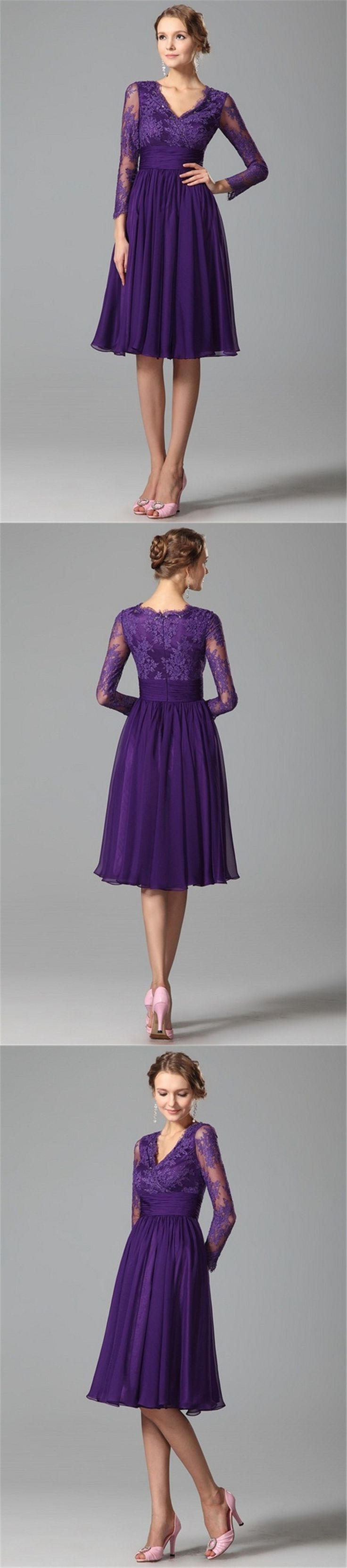 Purple bridesmaid dresses 2016 lace 3 4 long sleeves v for Cheap wedding guest dresses