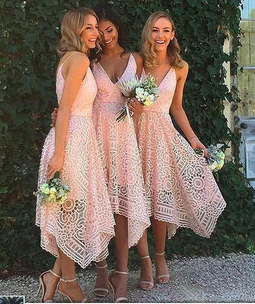 Beautiful Custom bridesmaid dress, Sleeveless Newest Spaghetti Strap Tea Length Lace Bridesmaid Dress by DestinyDress, $157.39 USD