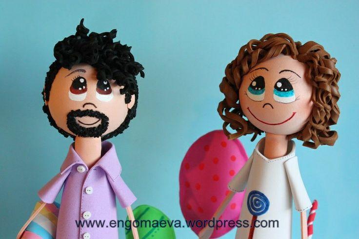 Pareja de muñecos Fofuchos: peinado con pelo rizado (él y ella) Hecho a mano   ---  Fofuchos Dolls couple with curly hair (his and hers) Handmade   http://engomaeva.wordpress.com/