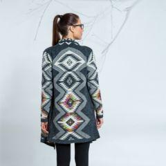 Női szürke hosszú kardigán színes mintával N&P hátulról