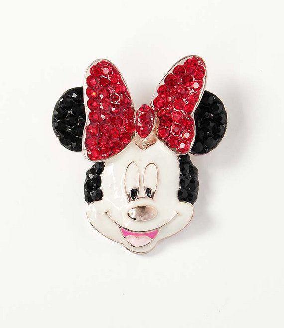 Rhinestone Mouse Brooch, Rhinestone Minnie Broach, Cartoon Wedding Bouquet Brooches, Wedding Cake Decor, Red Black Mickey Broaches