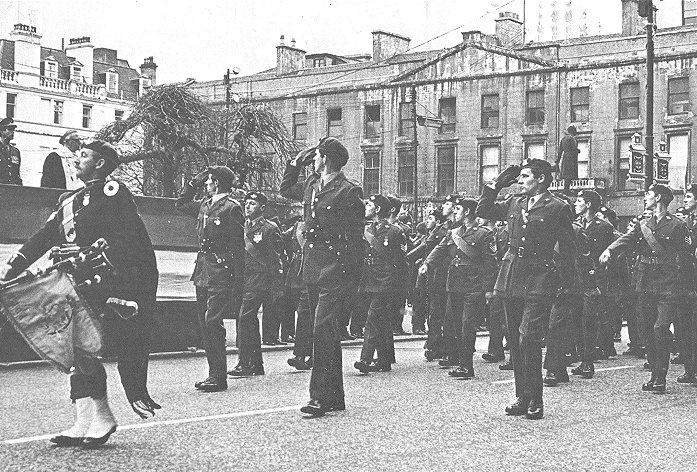 15th (Scottish Volunteer) Battalion, The Parachute Regiment in the late 1970's in George Square, Glasgow, Scotland