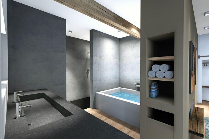 3d rendering, interior, B&B, bath  by Vormkracht 9