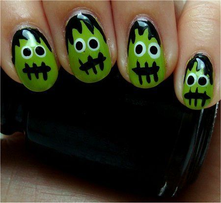 Frankenstein's Monster Nails  Nail tutorial & more photos here: http://www.swatchandlearn.com/nail-art-tutorial-frankensteins-monster-nails/