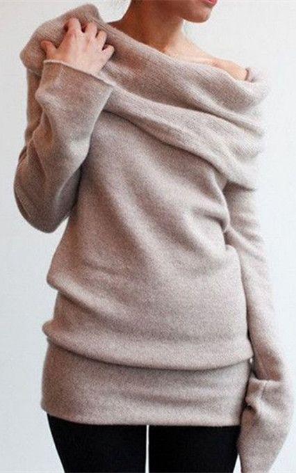 Elegant Solid Color Slash Collar Long Sleeve Pullover Knitwear For Women