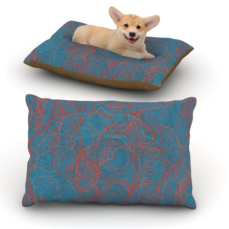 "Patternmuse ""Mandala Teal"" Red Blue Dog Bed"
