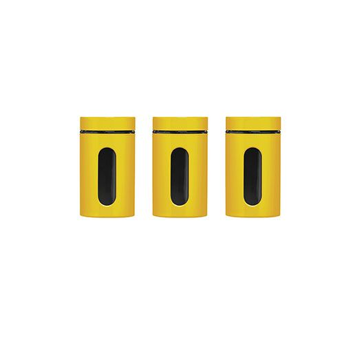 Yellow Storage Canisters from Premier Housewares, 3 Functional & stylish canisters featuring an air tight seal & a clear window to easily view contents.
