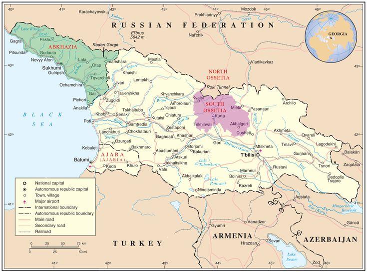 Map of Georgia showing the autonomous republics of Abkhazia (de facto independent) and Adjaria, and the de facto independent region of South Ossetia