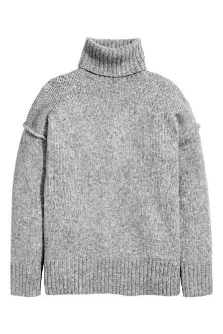 Chunky-knit polo-neck jumper