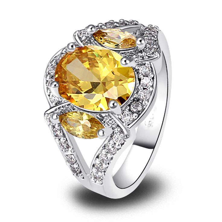 Lingmei Atacado Unisex Oval Cut Ouro Amarelo Citrino Anel de Prata Artesanais Moda Requintada Jóia Para As Mulheres JY0508R4(China (Mainland))