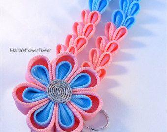 Kanzashi fabric flower hair clip with falls-japanese oriental