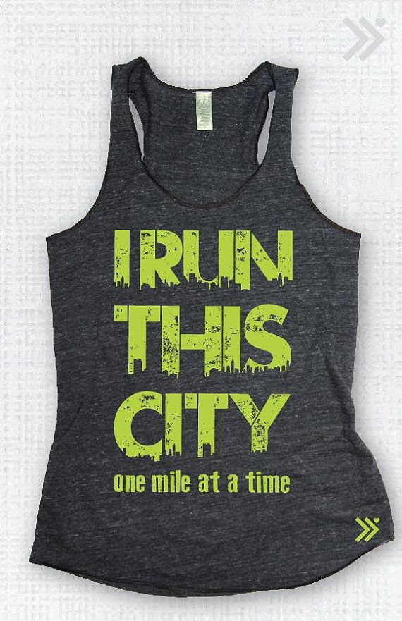 Large Sale/ Clearance I Run This City Eco Tank gym by everfitte