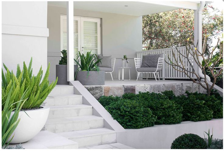 Love this clean minimal palette and structural plants. Low maintenance is the key.