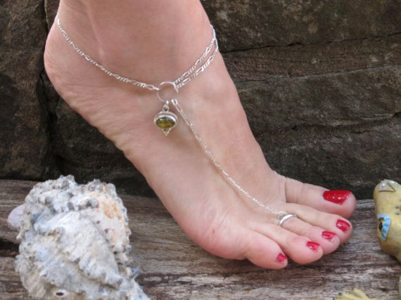 Green Amber Ankle Bracelet and Toe Ring both Adjustable Anklet Beach Charm