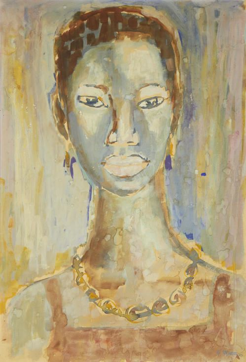 This is Black Expresisons Mum By Gerard Sekoto (1913-1993, South African), 1 9 7 0, Portrait of a lady, watercolour.